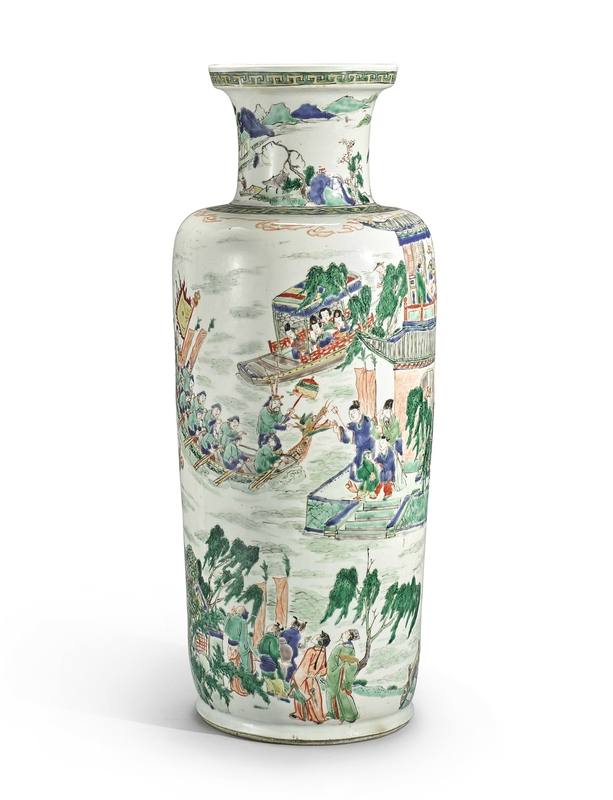 A famille-verte 'Dragon Boat Festival' rouleau vase, Qing dynasty, Kangxi period (1662-1722)