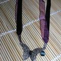collier papillon prune et noir