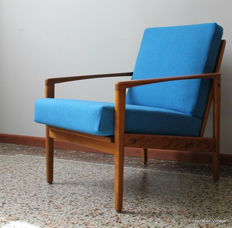 fauteuil design scandinave 60s bleu - Fauteuil Scandinave Vintage