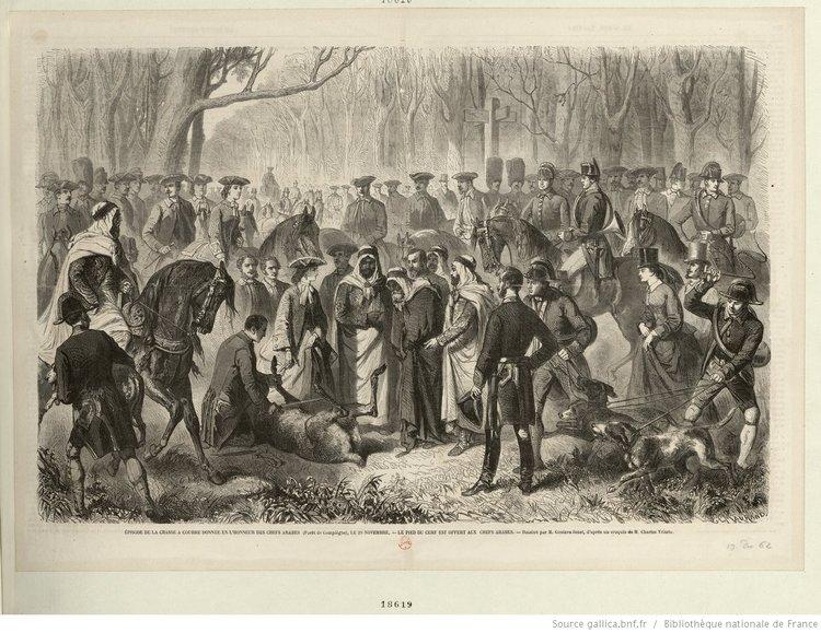 BNF Chasse à courre donnée en l'honneur des Chefs arabes (Forêt de Compiègne) le 29 Novembre estampe 1862