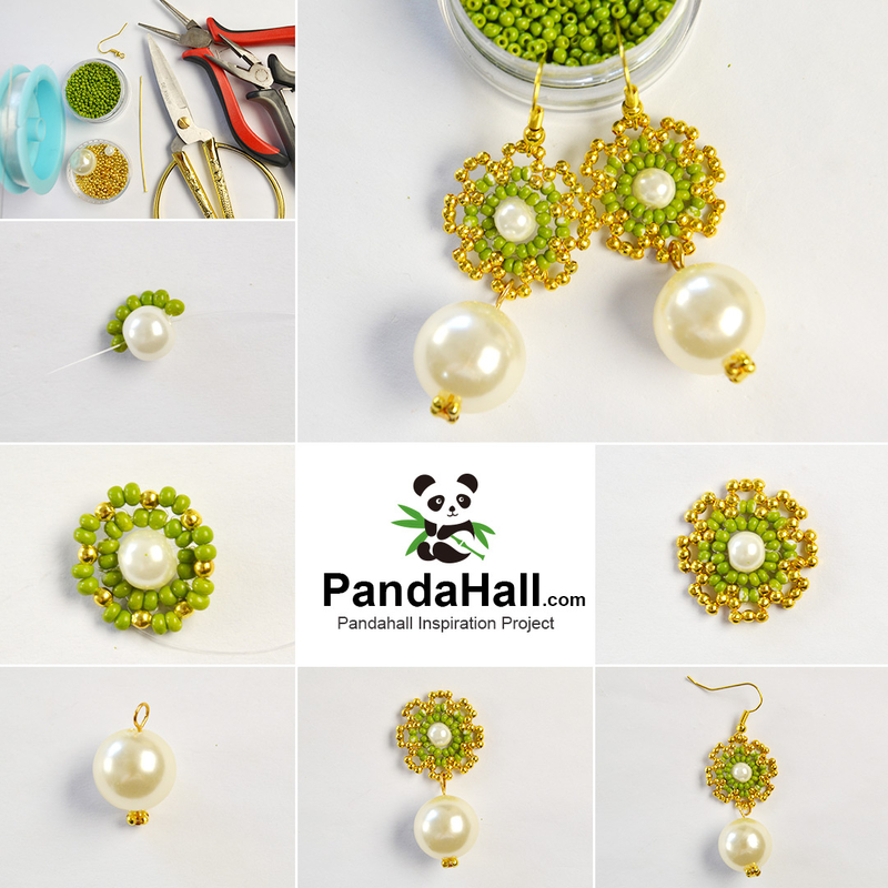 1080-PandaHall-tutorials-on-Beaded-Earrings-with-Pearl-Pendant