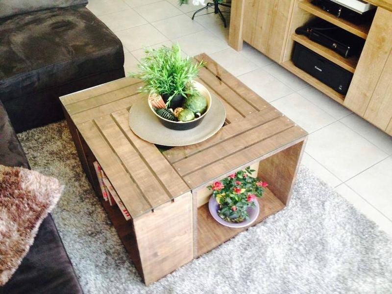 Table basse fabriquée par Elodie
