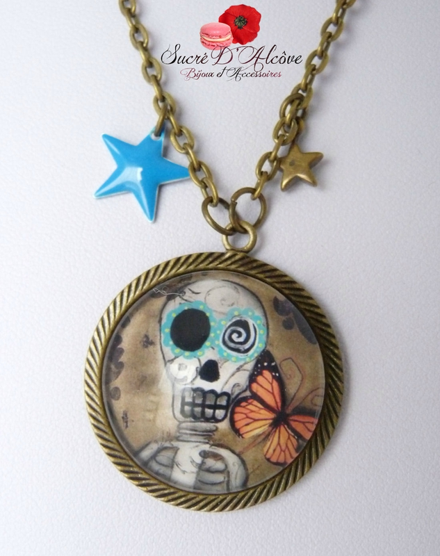 Collier cabochon funy skulls (5)
