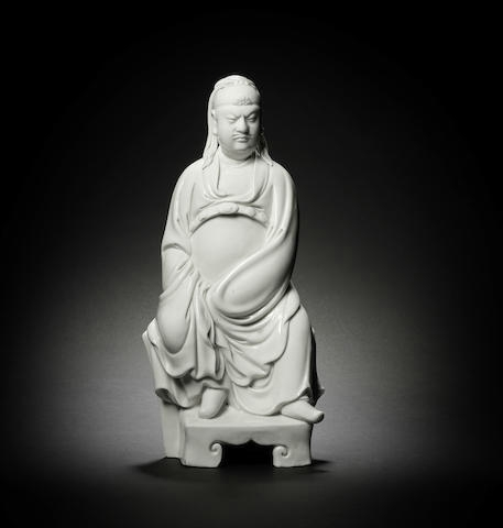 A fine blanc-de-chine figure of Guandi, 17th century