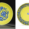 A very rare yellow-ground blue and white dish, qianlong six-character seal mark in underglaze blue and of the period (1736-1795