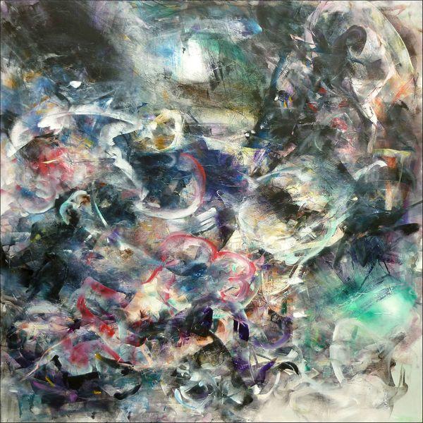 composition 761 acrylique sur toile 120x120cm 2012