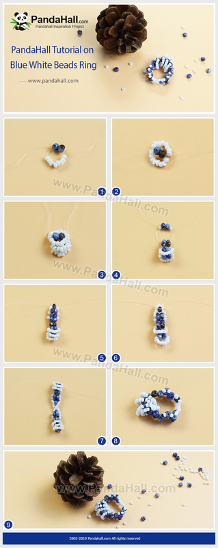 3-PandaHall Tutorial on Blue White Beads Ring