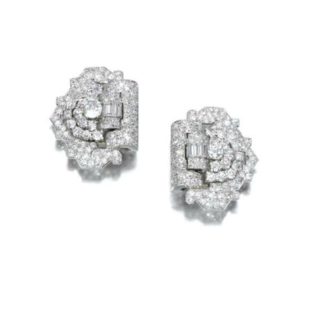 Pair of diamond clips, Cartier, circa 1930