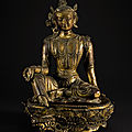 A rare gilt-lacquered wood figure of a bodhisattva, qing dynasty, kangxi period (1662-1722)