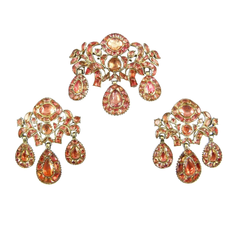 c01757d07d ... topaz triple drop pendant and pair of earrings en suite, Portuguese  c.1760. Asking price in the region of £20,000-£50,000. Courtesy S. J.  Phillips Ltd
