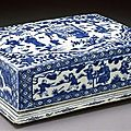 Covered box with design of scholars in a garden. porcelain with underglaze cobalt and glaze, ming dynasty, wanli reign,1573/1620