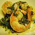 crevettes sauce au basilic