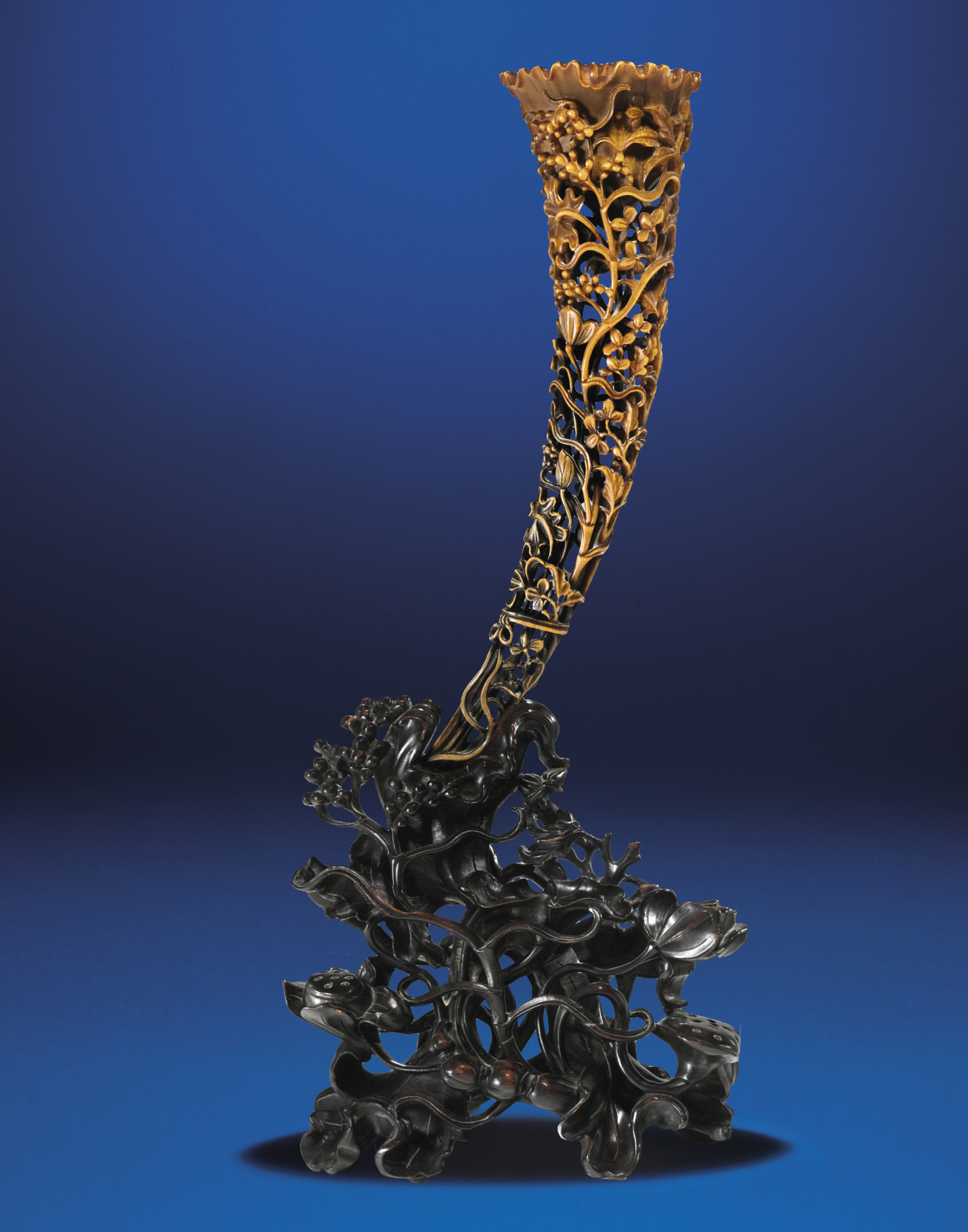 A Full-Tip Rhinoceros Horn Carving, Qing Dynasty, 19th Century