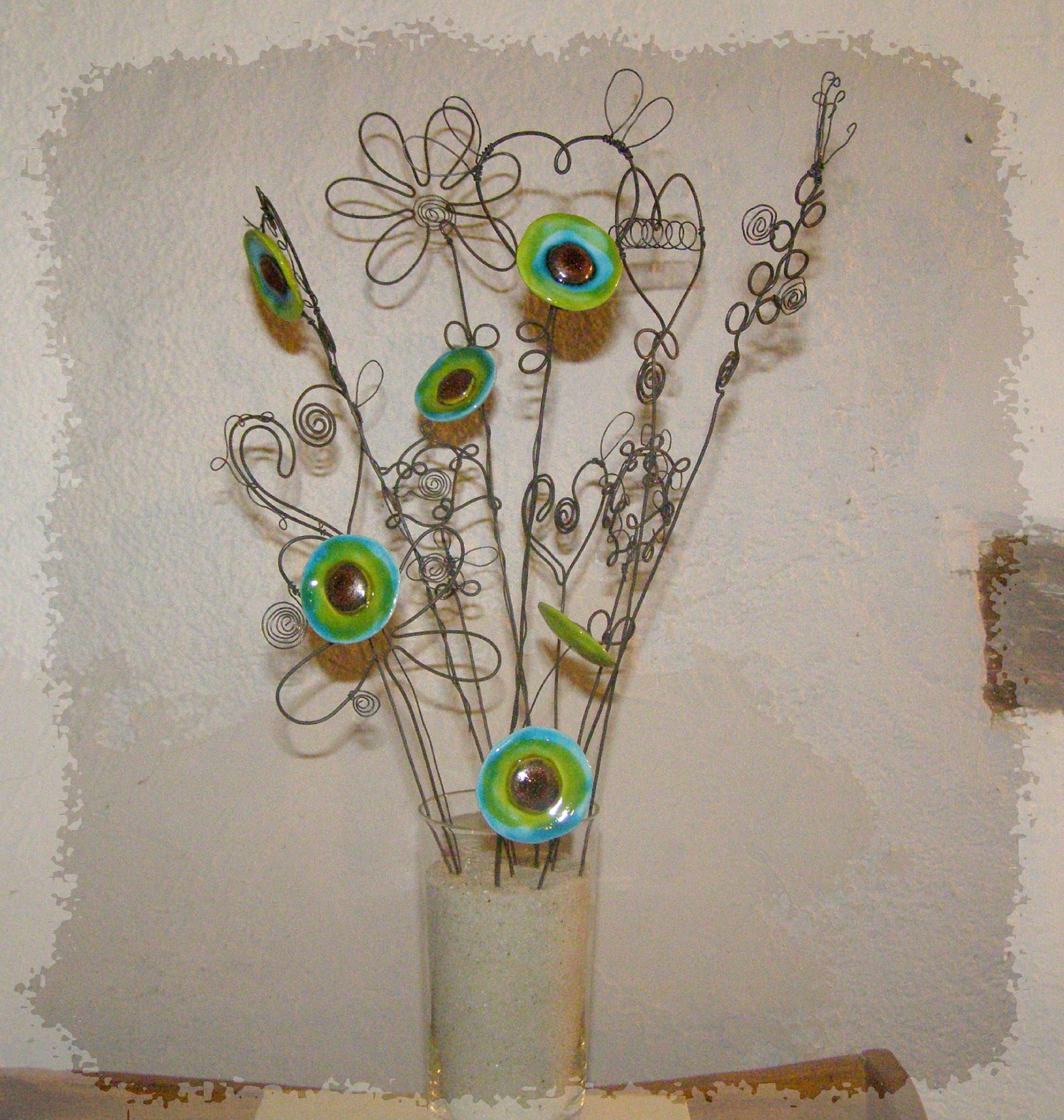 bouquet fleurs fil de fer et céramique