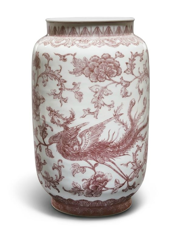 A copper-red 'Dragon and Phoenix' lantern vase, Qianlong seal mark and period (1736-1795)