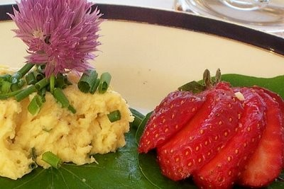 Flan de rutabagas aux fleurs de ciboulette de Gato Azul