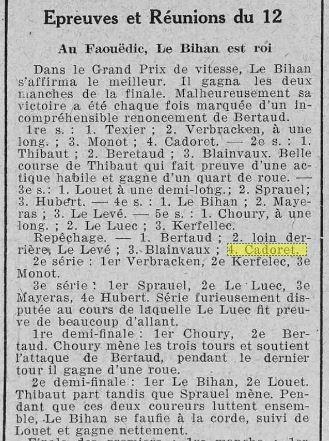 1923 le 18 août L'Ouest en plein air cyclisme Kerfelec et Charles Queffelec_2