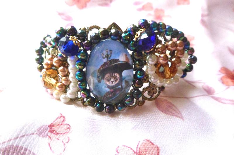 bracelet venitienne bleu, petites perles