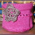crochet pot fushia