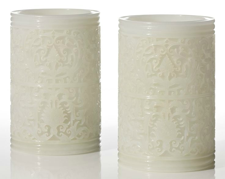 A pair of white glass 'lotus' brush pots, Late Qing dynasty