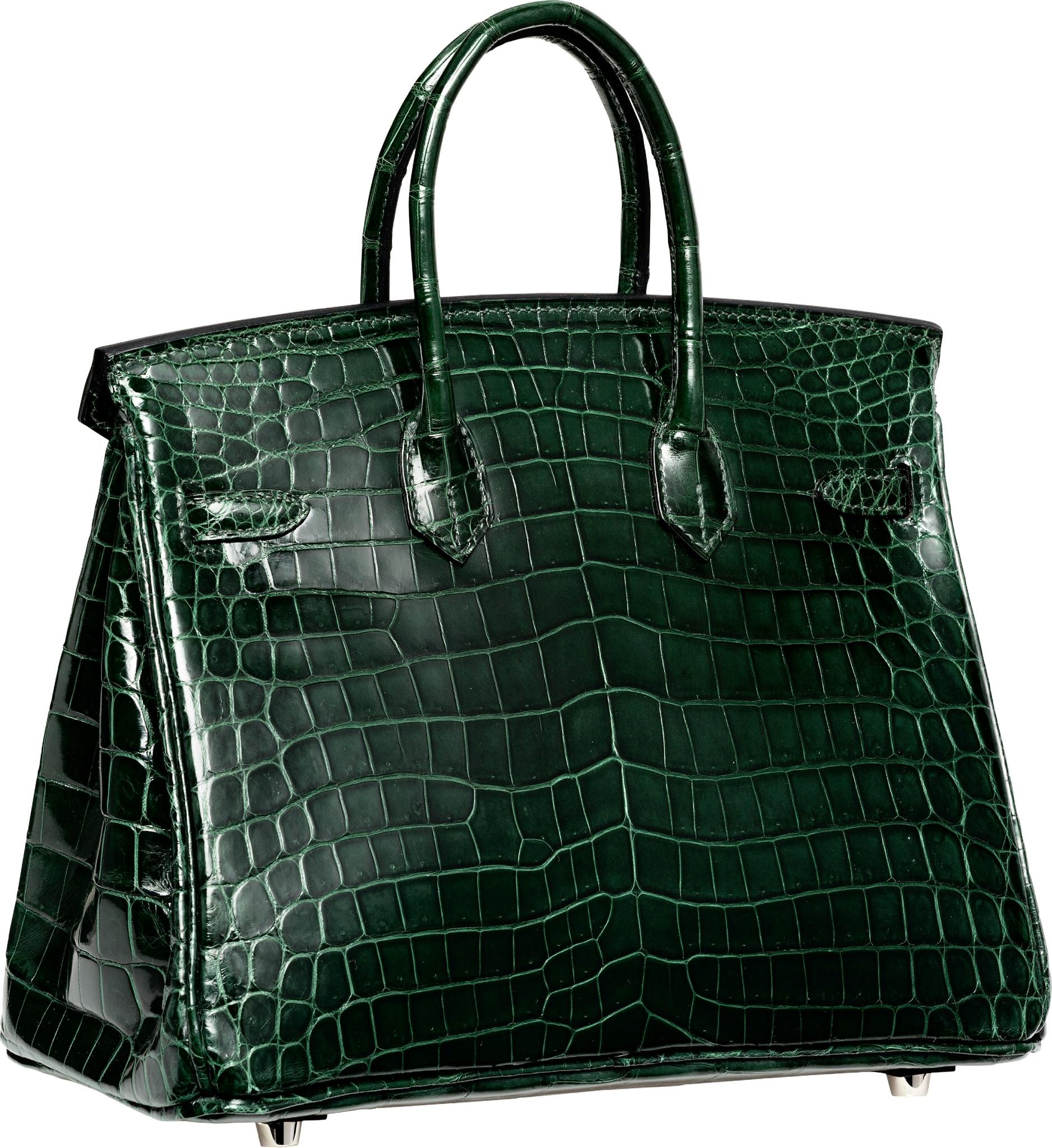 b973ad3a1e08 Hermès 25cm Shiny Vert Fonce Nilo Crocodile Birkin Bag with Palladium  Hardware. N Square