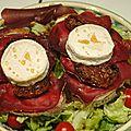 Tartines cabécou et viande des grisons