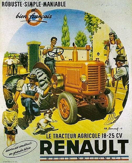 tracteur Renault (affiche d'époque)