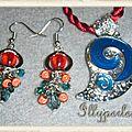 Ensemble collier et boucles d'oreilles rouge et turquoise