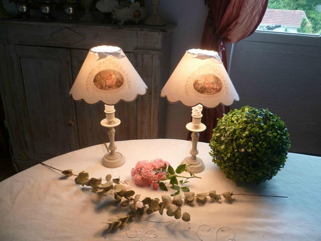 paire lampes scènes galantes