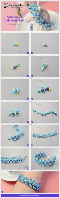 PandaHall-Tutorial-on-Colorful-Beaded-Bangle