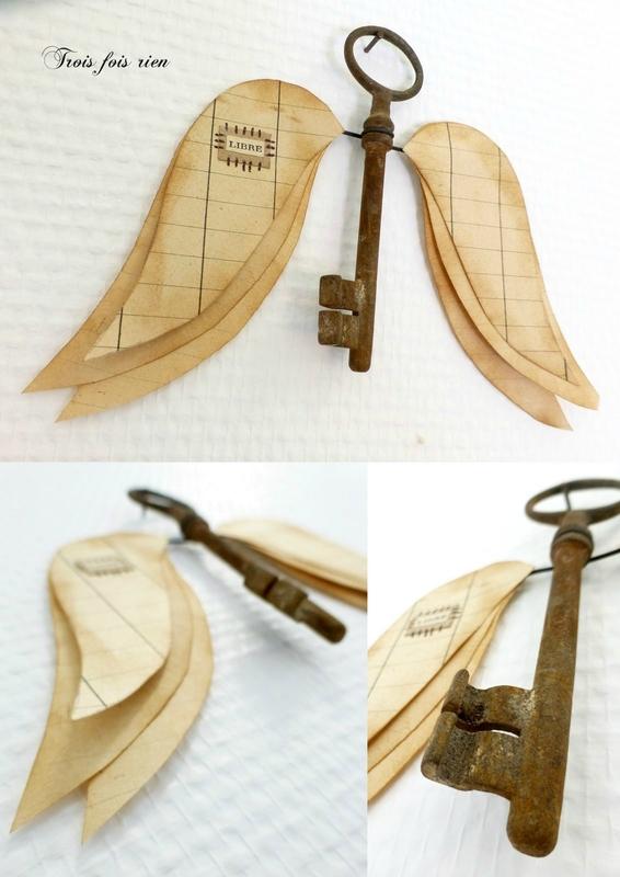 Ange clé N°76, trois fois rien, ange, clé ancienne, récup', recyclage