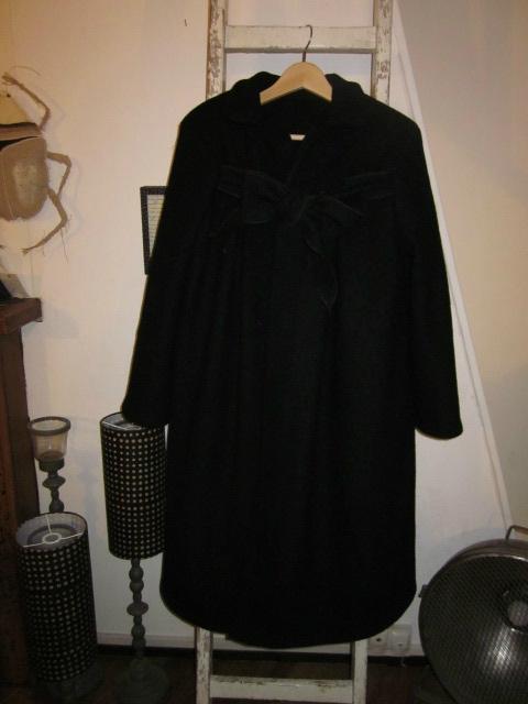 Manteau AGLAE en laine bouillie noire allongé de 15 cm - taille 50 (9)