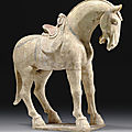 A painted straw-glazed pottery figure of a horse, early tang dynasty, 7th century