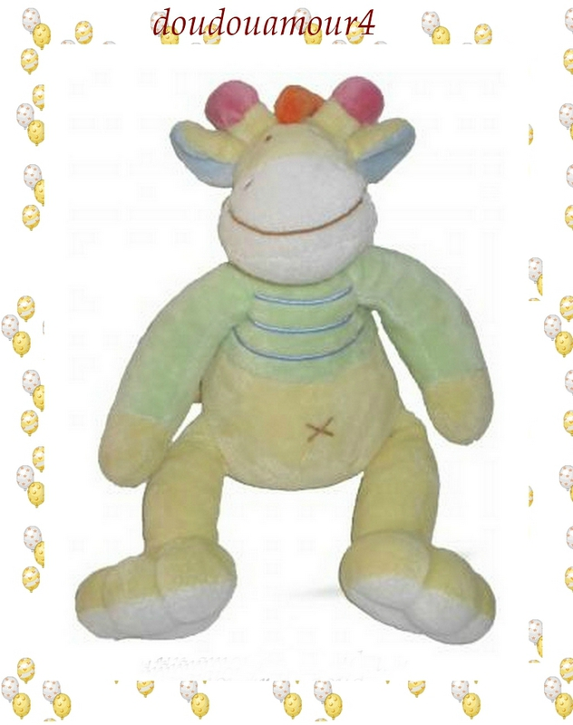 Doudou Peluche Vache Girafe vert et jaune, rayé bleu Mots d'Enfants