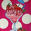 Tableau d'une coupe de glaces à la fraise