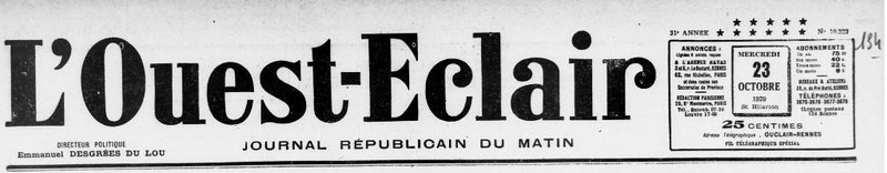 Ouest Eclair mariage Cherbourg 1929_1