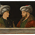 Workshop of gentile bellini (venice c. 1429-1507), portrait of sultan mehmed ii (1432-1481), with a young dignitary