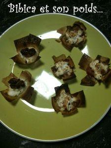 Bouchées apéritives jambon-fromage frais et chèvre-miel-noix