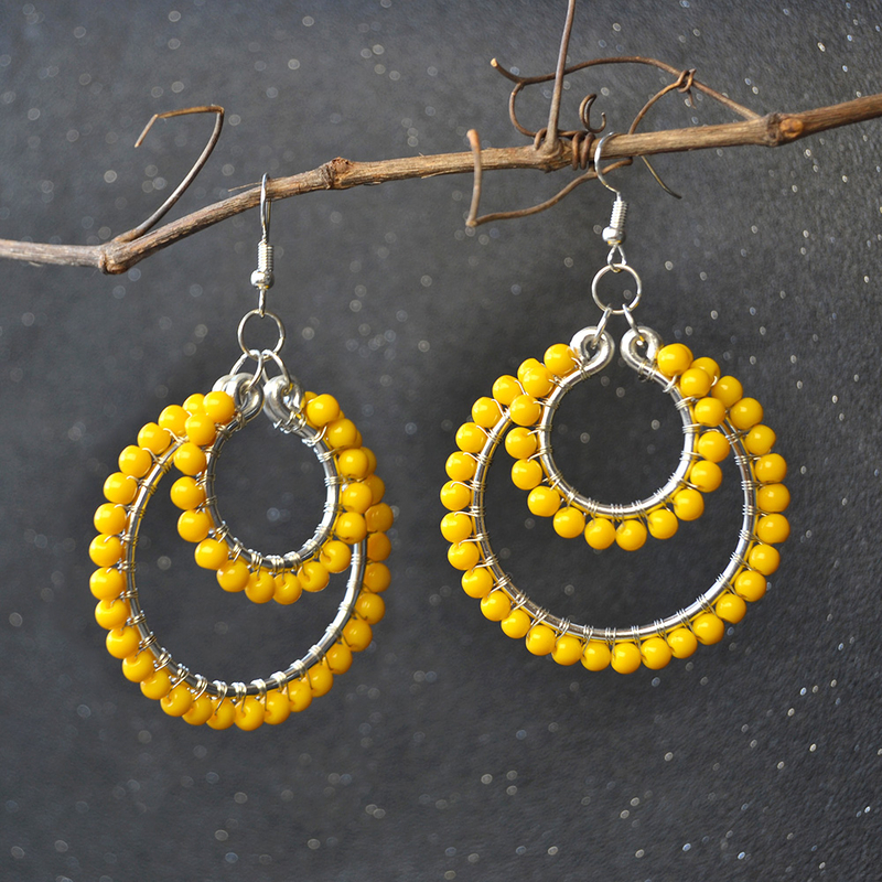 PandaHall-DIY-Design-on-Orange-Glass-Beads-Wire-Wrapped-Hoop-Earrings-6