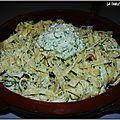 Tagliatelles fraiches au pesto de persil, coco, noix