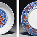 A fine iron-red-decorated blue and white 'dragon' dish, qianlong seal mark in underglaze blue and of the period (1736-1795)