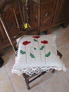 coquelicots coussin