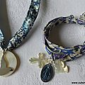 Collier de Confirmation (sur ruban Adeladja bleu) et bracelet de l'Annonciation (sur ruban Meadow parme)