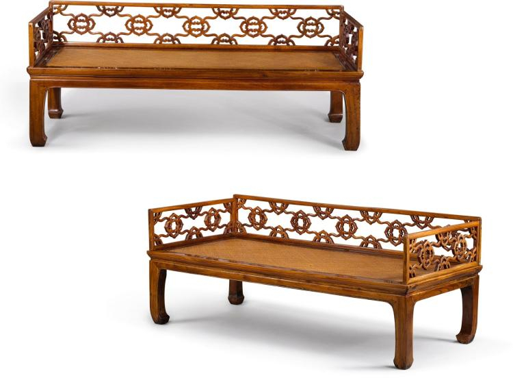 Two Southern elm wood three-rail couch-beds, Qing dynasty, 19th century