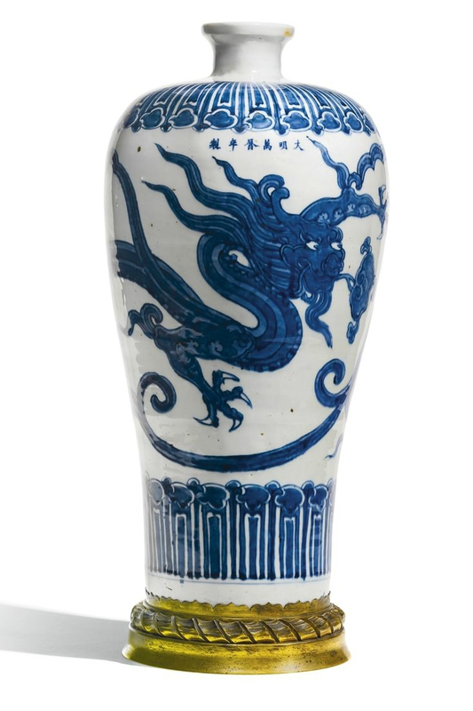 A fine gilt-bronze mounted blue and white 'Dragon' meiping, Wanli mark and period