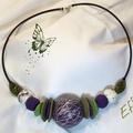 collier perle creuse violette