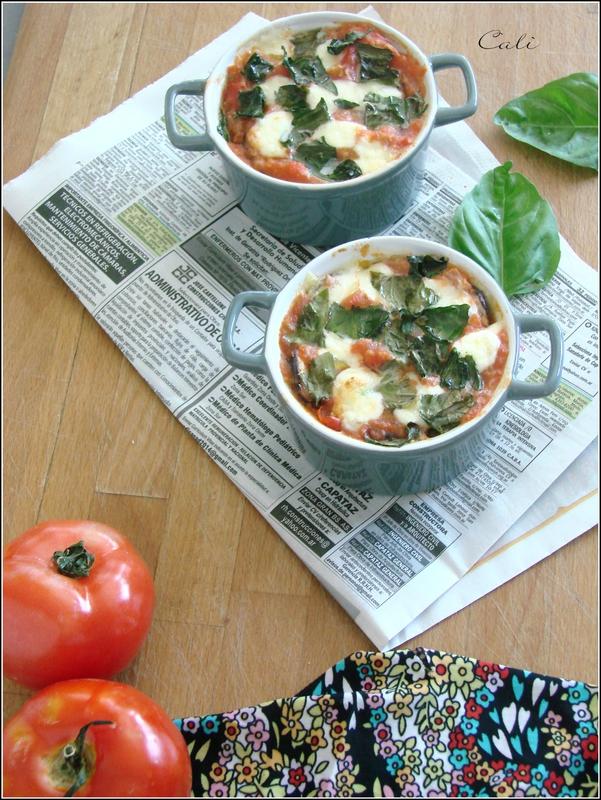 Cocottes d'Aubergines & Tomates à la Mozzarella et Basilic 002