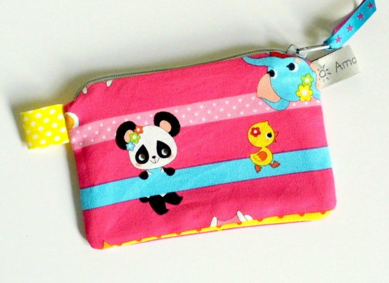 Porte monnaie fuchsia panda