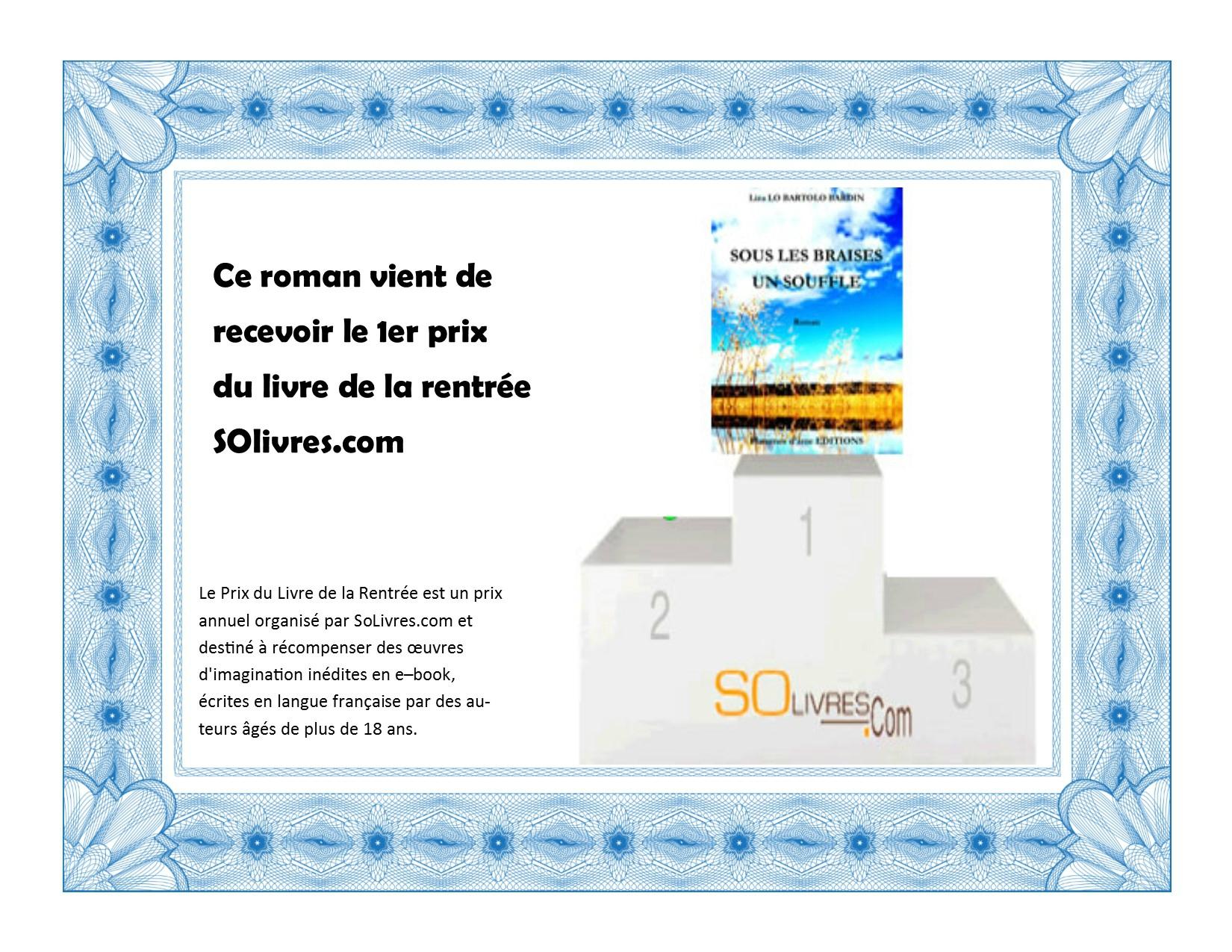 Le prix de la rentrée SOlivres.com