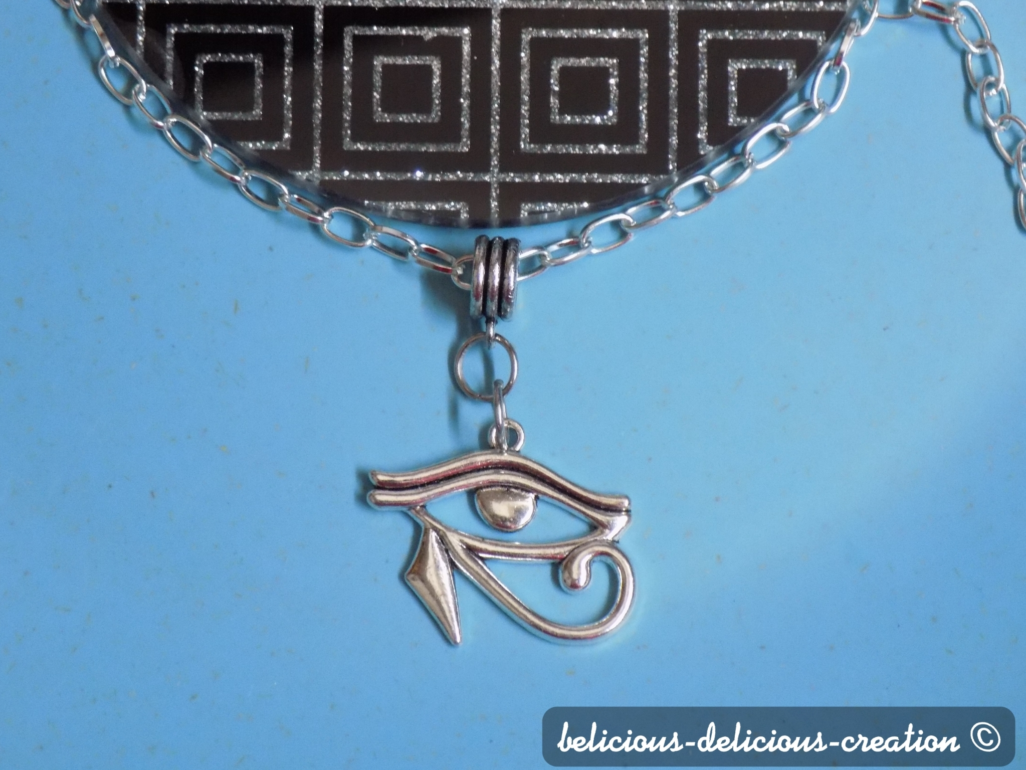 Original Collier Homme !! EYE OF HORUS !! collier en argenté pendentif en metal argente collier long 59cm belicious-delicious-